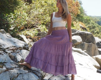 Gauze Gypsy Tiered Maxi Skirt in LAVENDER // Pockets, Natural Fiber, Flexible Waistband / Breathable Elegance!