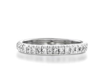 Diamond Pinky Ring, 18k White Gold Diamond Ring, Pinky Ring, Diamond Wedding Band, Woman Pinky Ring, Pave Diamond Ring, Stack Diamond Ring