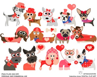 Valentine dogs clip art  for Personal and Commercial use - INSTANT DOWNLOAD