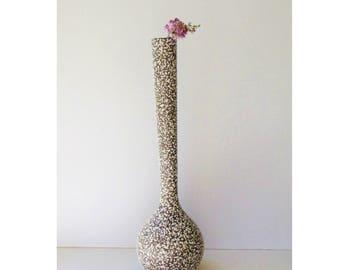 Vintage Royal Haeger - Onion Vase Tall - Chocolate Brown and White Popcorn Glaze - Pebble Glaze -