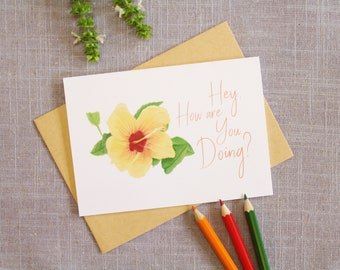 Greeting Card, Thinking of you Card, Blank Greeting Card, Note Card, Flower Card, Card for friend - Hey, how are you doing?