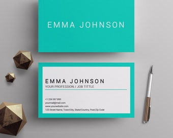 Professional business card template printable business cards custom business cards template teal and white center printable minimalist business cards premade business flashek Gallery