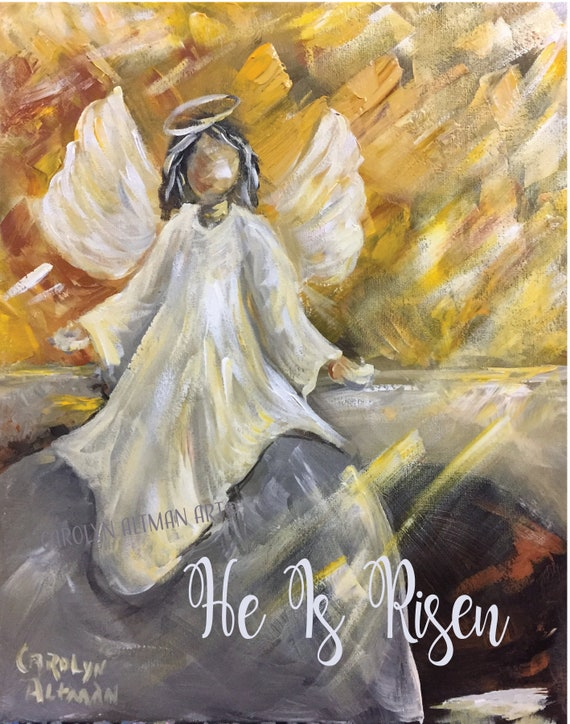 He is Risen Angel at the Tomb Note Cards | Art Print from an Easter Morning Sunrise Painting of Angel at the Tomb | Carolyn Altman Art
