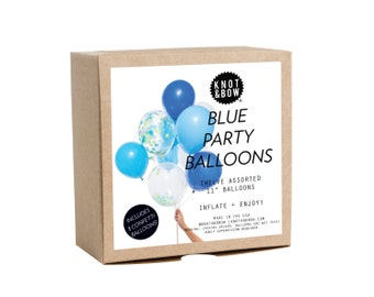 Blue Party Balloons / Includes 3 Confetti Balloons / 12 count