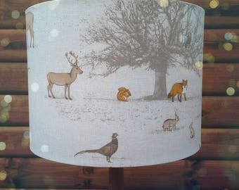 Lamp shades etsy nz drum lampshade british woodland fabric covered lamp shade 19cm up to 40cm aloadofball Choice Image