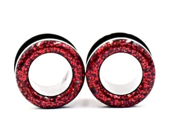 Red Sparkle Tunnel Plugs / 8g, 6g, 4g, 2g, 0g, 00g, 7/16, 1/2, 9/16, 5/8, 11/16, 3/4, 7/8, 1 inch / Glitter tunnel gauges
