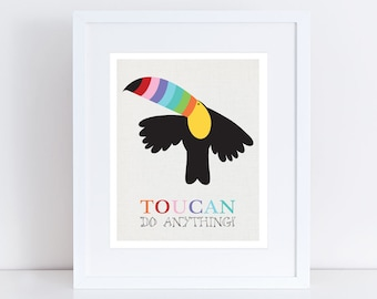 toucan print 5x7 or 10x8 printed bird, funny quote, tropical nursery art colourful children kids baby girl, boy jungle flying rainbow bright