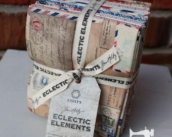 Tim Holtz Correspondence Fabric - Fat Quarter Bundle Eclectec Elements - Designer Quilting Fabric Collection Fat Quarter Set of 17 Fabrics