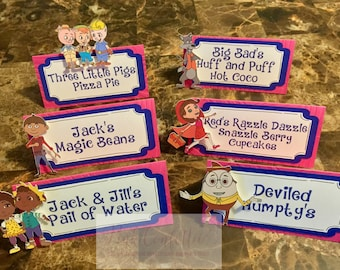 Goldie and Bear Food Tents/ Goldie and Bear Place Cards
