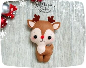Christmas ornaments felt Reindeer Christmas tree ornament Rudolph the red nose felt Christmas ornament Rudolph Christmas tree decoration
