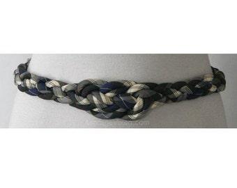 Beautiful 50s Look Braided Navy Silk Plaid Belt - Medium - Large - XL - Size 9 to 16 - Fall Autumn Tartan Plaid - Imported - 37678