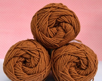 Kacenka - soft cotton/acrylic yarn for crochet and knitting, Brown color, No. 7884, 1 ball/50 g, Producer NCT