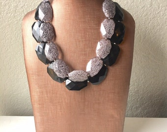 Gray & Black Necklace, Double strand jewelry, big beaded chunky statement necklace, black necklace, black jewelry, gray necklace, black gray