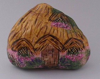 Cottage garden stone hand painted spring decor paperweight