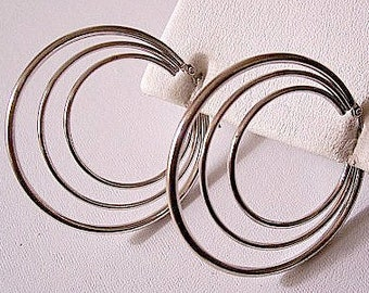 Triple Ring Hoops Pierced Earrings Silver Tone Vintage Smooth Graduated Rings Large Dangles