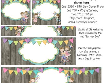 Instant Download, DIY Blank Etsy Banner and Facebook Set - Summer Day - Customize for your Store