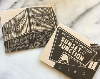 Silver Lake Neighborhood Letterpress Greeting Cards, Set of 4