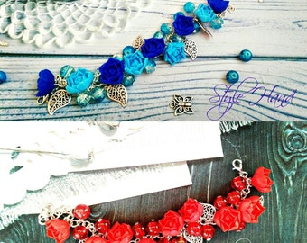 roses bracelet, red flower bracelet, blue roses bracelet, red wedding, red jewellery, bridal bracelet , bridal corsage, blue roses, custom