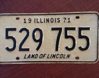 Vintage 1971 Illinois License Plate, 1971 license plate, vintage Illinois license plate, old Illinois license plate, antique Illinois plate
