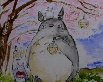 Totoro Sakura Hanami 3 under cherry blossoms, original watercolor print