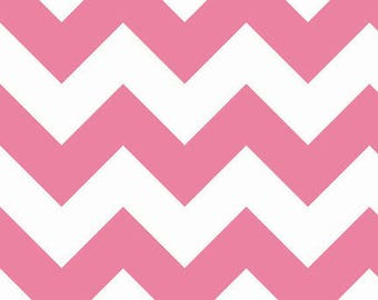 Riley Blake - Large Pink & White Chevron - 1/2 yard fabric - by Boutique Mia
