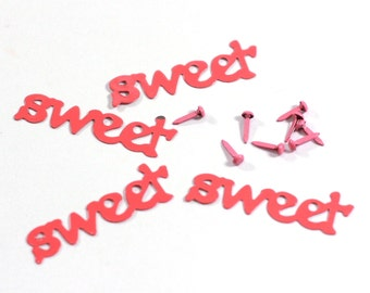 Sweet Paper Brads - Large metal word SWEET - set of 4 with 2 brads each - pink scrabook embellishment card making supplies