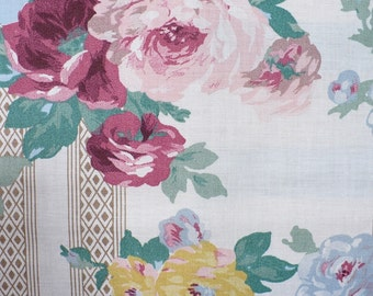 Rose fabric, Vintage fabric,  pinks, green, blue, cottage decor, 1/2 YARD, cotton, OOP, cottage roses, floral quilt fabric