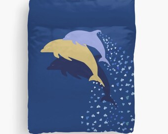 Dolphins Duvet Cover, Queen King Full, Fishes Animals Ocean Gift Woman Boyfriend Bed Decor Home Bedding Dorm Coastal Cute Animals Sea Accent