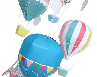 Paris Hot Air Balloon Mobile Printable Paper Craft PDF