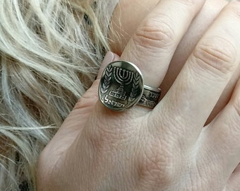 Two coins in 1 ring, Light patina finish