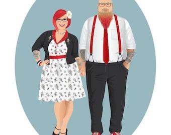 Custom couple portrait, Rockabilly, Digital Illustration to print, Couple Rockabilly portrait