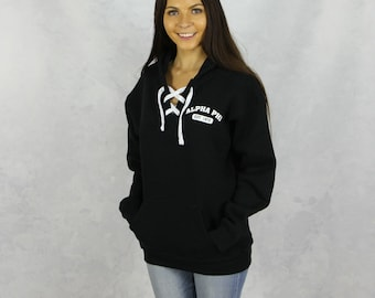Alpha Phi Hooded Lace Up Sweatshirt in Black