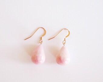 Rose Gold Statement Earrings, Statement Jewelry, Blush Pink Teardrop Earrings, Drop Earrings, Clay Earrings, Ceramic Jewellery, Gift for Her