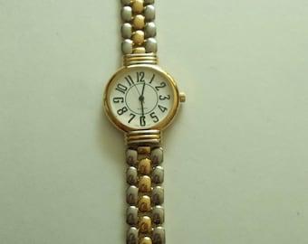 Reversible Silver Gold Large Dial Quartz watch