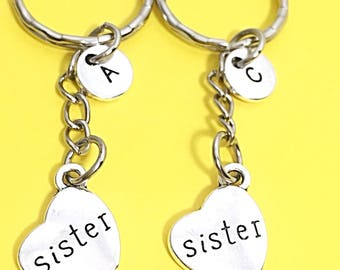 Set of 2 Sister Keychains Custom Two Sister Gift Personalized Monogram Initial Birthday Friends Sister Gift Ideas Initial Keychain Sisters