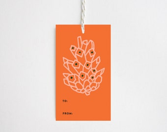 Christmas Gift Tags - Pine Cone Red
