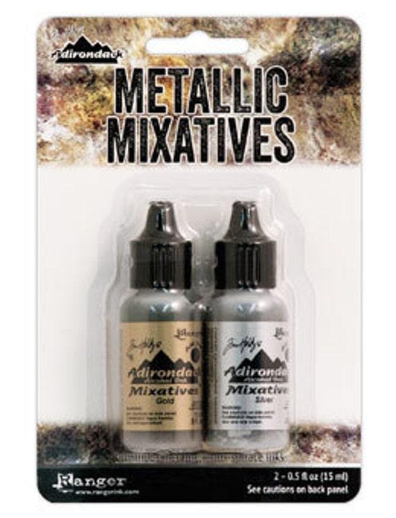 Ranger Alcohol Ink / Adirondack Silver and Gold Mixative