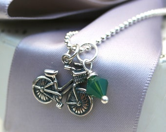 Bicycle Necklace with Basket Sterling Silver with crystal charm