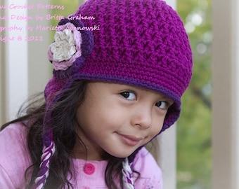 Crochet Hat Pattern - Textured Earflap Crochet Hat Pattern No.602 Unisex NINE Sizes from Newborn to Adult digital pdf English