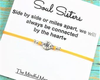 Soul Sister Bracelet | Compass Bracelet | Long Distance Friends | Best Friend Gift | Soul Sister Card | Friendship Bracelet