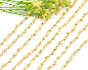 Rosary Chain, 2.5mm, Diamond Cut Chain, Rosary Necklace Finding, Rosary Bracelet Finding, Matte Gold, Tarnish Resist, RETAIL - 5 FT/ order