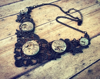 Steampunk Watch Movement Bib Necklace, Watch Part Necklace, Black Filigree Necklace, Steampunk Jewelry, Black Bib Necklace, Victorian