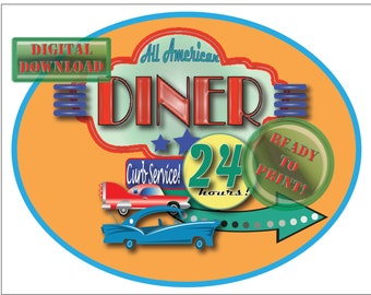 All American Diner Cake Topper Printable 8X10 Oval Drive-in Sign Orange Background Retro 1950s Neon Style Sign Car 24 Hours Curb Service