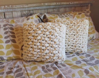 Set of 2-HANDMADE Chic Chunky Knit Pillow Covers