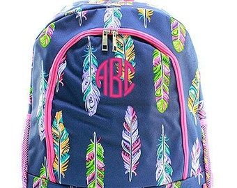 Monogrammed Backpack Personalized Feather Pink Backpack Personalized Backpack Kids Backpack Girls Backpack Boys Backpack