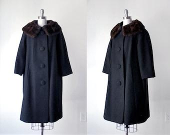 1960's wool coat. black coat. 60's winter coat. large. brown mink collar. 1960 fur coat.