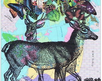 DEER,Butterflies.Colourful.Collage.Map Page Print,home/deco.affordable,art,freebie.mom.dad.animal lover.birthday.traveller.globe.child.eco