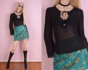 90s Black Sheer Long Sleeve Top/ Small/ 1990s