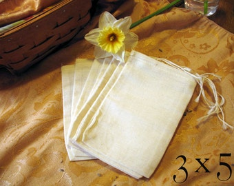 Muslin Drawstring Bag, 100% Cotton 3x5 25 pieces. Plain, unbleached with drawstring for storage or stamping