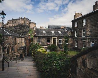 Edinburgh Photography Print, Old Town, Scotland, Castle, historic center,  scottish, highlands, moody, instagram, dark, UK, Great Britain